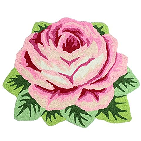 TideTex Modern Fashion Rugs Rose Flower Design Living Room Door Mats Pink Red Bedroom Foot Mats Washable Non-silp Home Essentials Carpet (2'6x2'0, pink (Flower Living Room Rug)
