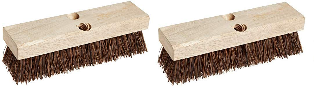Weiler 44026 Palmyra Fill Deck Scrub Brush with Wood Block, 10'' Overall Length (2-(Pack))