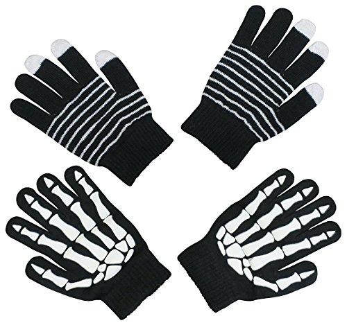NIce Caps Boys Glow in the Dark Magic Stretch Gloves 2 Pair Pack