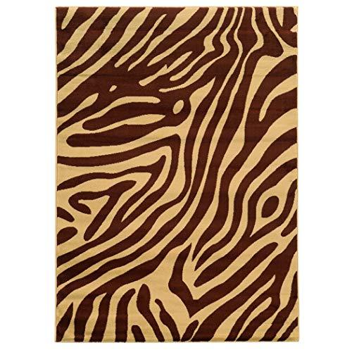 5x7'3 Brown Tan Zebra Print Area Rug Rectangle, Indoor Safari Animal Pattern Carpet for Living Room Country Floor Mat Nature Wilderness Animal Wildlife Country Exotic, Polypropylene