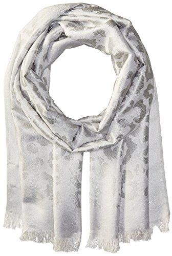 Badgley Mischka Women's Ocelot Lurex Jacquard Wrap Scarf, ivory/silver, One Size by Badgley Mischka