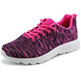 Jabasic Women's Breathable Knit Sports Running Shoes Casual Walking Sneaker (7 B(M) US, Fuchsia-1)