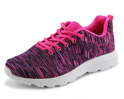 Jabasic Women's Breathable Knit Sports Running Shoes Casual Walking Sneaker (8 B(M) US, Fuchsia-1)