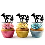 TA0456 Cow Silhouette Party Wedding Birthday Acrylic Cupcake Toppers Decor 10 pcs