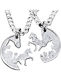 2 pack of Set Hand Cut Coin Silver Horse Necklace Interlocking Necklace Jewelry Relationship Gifts