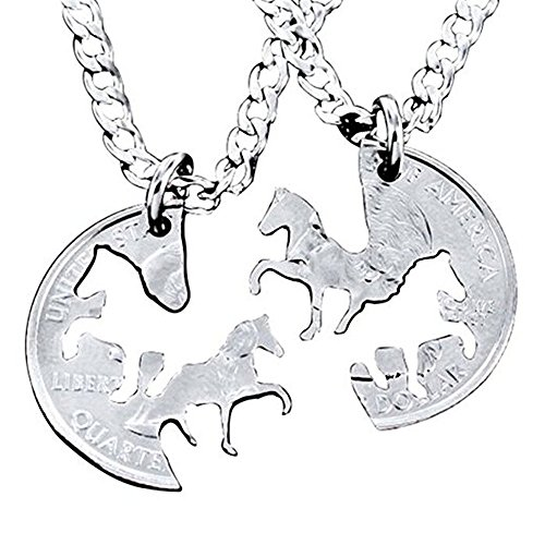 ut Coin Silver Horse Necklace Interlocking Necklace Jewelry Relationship Gifts ()