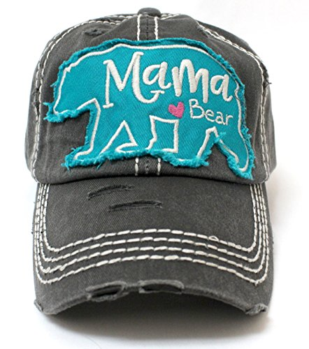 CAPS 'N VINTAGE Vintage Black Mama <3 Bear Geometric Patch Embroidery Hat (Mama Patch)