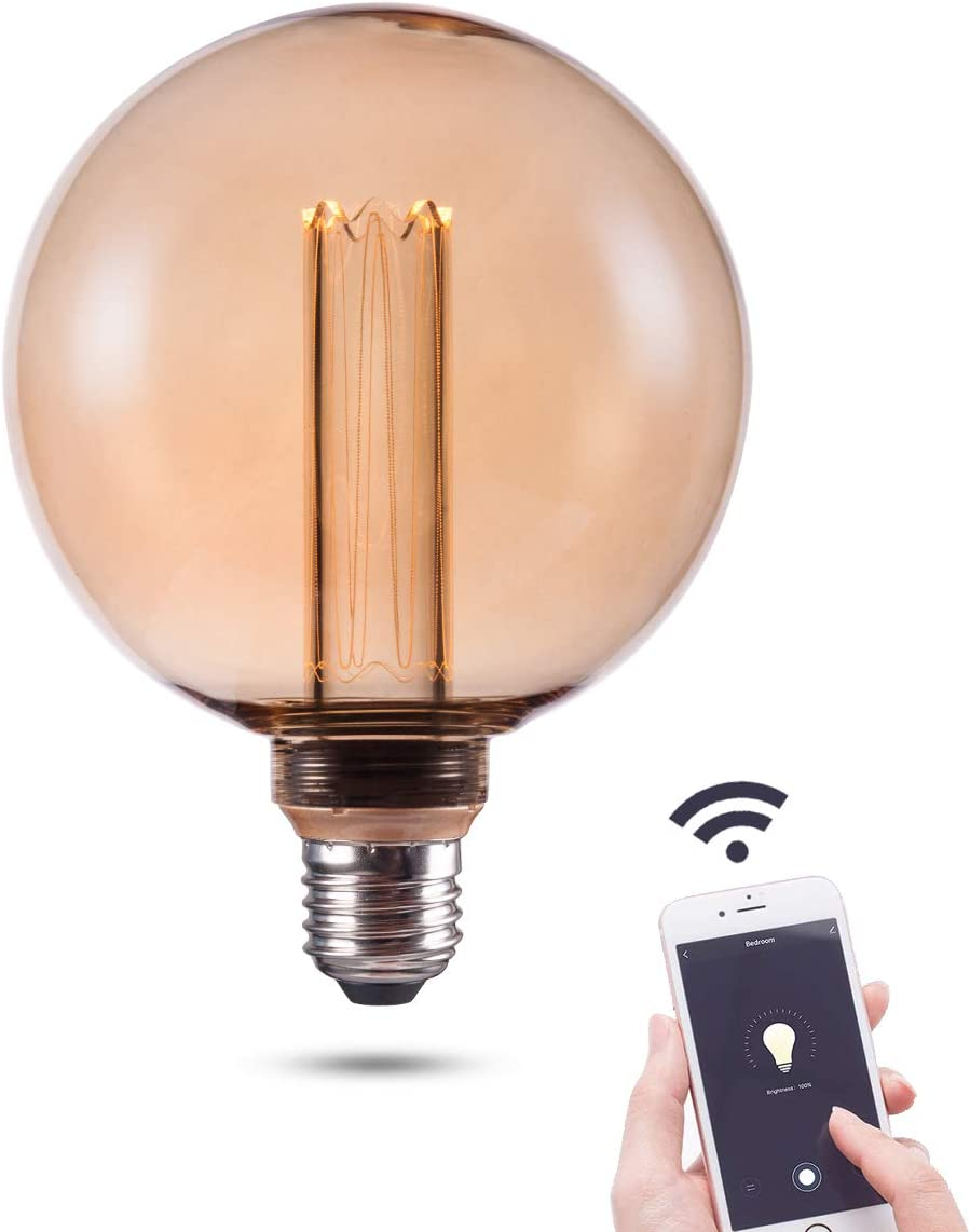 Smart WiFi LED Light Bulb, 3.8W Harwez Vintage Amber RN Decoration LED Edison Bulbs, G125, Dimmable, Soft Warm 2000K, E26 Base, No Hub Required, Compatible with Alexa and Google Home Assistant.
