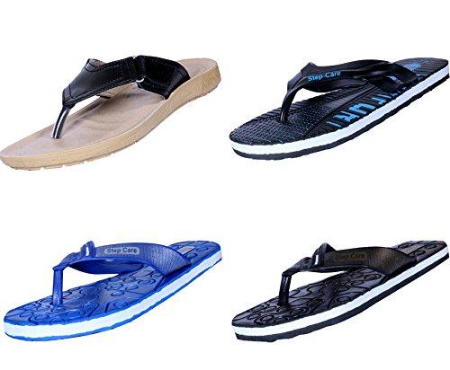 Zapatilla De Casa Para Hombre Flip Flop De Indistar Y Chappal De Hawaai (paquete De 4)