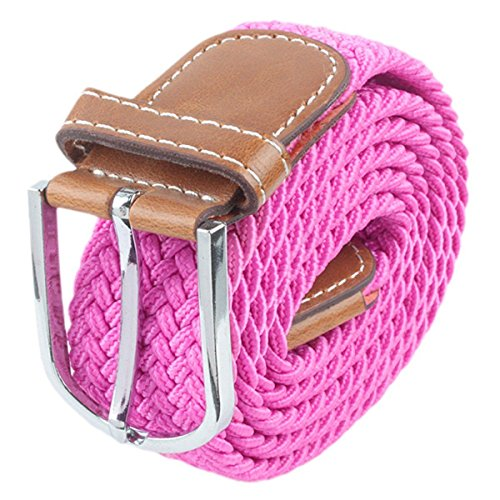 [Moonsix Braided Elastic Belts for Men,PU Leather Stretch Fabric Woven Web Belt ,Style 1-Hot Pink] (Pink Leather Belt Strap)
