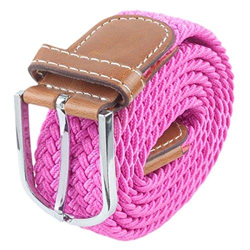 Moonsix Braided Elastic Belts for Men,PU Leather Stretch Fabric Woven Web Belt (Pink Leather Belt Strap)