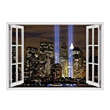 "Alonline Art - WTC Twins NYC Fake 3D Window VINYL STICKER DECAL 49""x35"" - 124x89cm For Living Room For Home Decor For Bedroom Artwork Stickers Wall Stickers Wall Decor Sticker Adhesive Vinyl Decal"