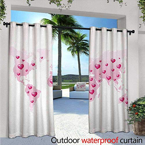 Princess Exterior/Outside Curtains W84 x L84 Global Peace World Map Which is Dotted with Hearts Love Planet Earth for Patio Light Block Heat Out Water Proof Drape Baby Pink White Fuchsia -