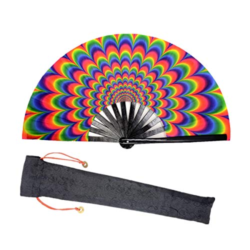 Lysa Large Rave Folding Fan for Men/Women-Chinese/Japanese Bamboo and Nylon-Cloth Folding Hand Fan for Electronic Dance Music Festival Party,Dancing,Decorations, Gift (Colourful-03)