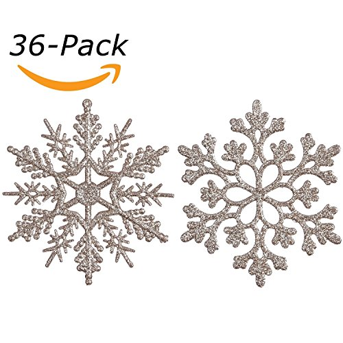 "Sea Team Plastic Christmas Glitter Snowflake Ornaments Christmas Tree Decorations, 4-inch, Set of 36 (4""/10cm, Pale Gold)"
