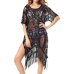 Kiddom Sexy Beach Wear Tops Plus Size Floral Lace Swimwear Dresses Swimsuit Bikini Cover Up Black XL