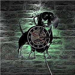 ZWGJWJ Dachshund Dog Vinyl LP Record Clock 3D Decor CD Clock Animals LED Wall Clock Pet Doggy Pug Puppy Time Watch Dog Lover Gift