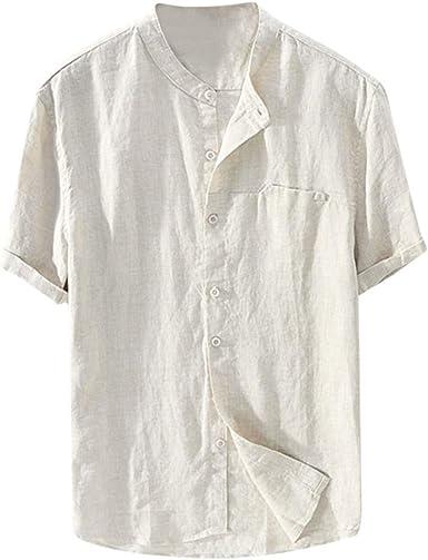Camisas Europeas y Americanas de los Hombres de Manga Corta Suelta de Verano sección Delgada de algodón Transpirable y Lino Camisa de Cuello Alto Camisa Casual de Playa para Hombres: Amazon.es: Ropa