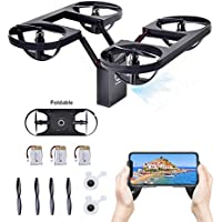 Flying Quadcopter,TeckEpic Foldable Drone ToysUp to 21 Minutes FPV 720P HD Camera Helicopter with 3 Batteries Headless Mode Wifi 2.0MP Aerial Photography New Peculiar Aircraft with G-Sensor