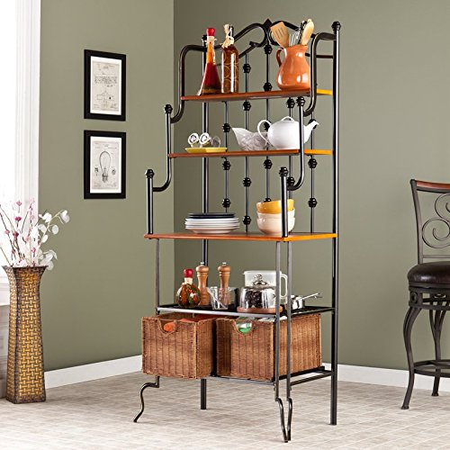 Storage Baker's Rack Durable Solid Iron Construction 2 Rattan Baskets 1 Wire Shelf Mission Oak Countertop and 2 Upper Shelves Black and Gold Finish Kitchen Storage Furniture