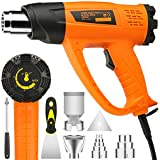 Heat Gun Variable Temperature, Yome 1800W 140℉~1112℉(60℃- 600℃) Hot Air Gun with 2 Speed-Setting, Overload Protection, 4 Nozzle Attachments for Shrink Wrapping, Crafts, Cell Phone Repairs, Orange