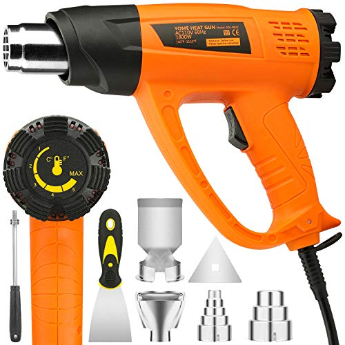Heat Gun Variable Temperature, Yome 1800W 140℉~1112℉(60℃- 600℃) Hot Air Gun with 2 Speed-Setting, Overload Prote ction, 4 Nozzle Attachments for Shrink Wrapping, Crafts, Cell Phone Repairs, Orange