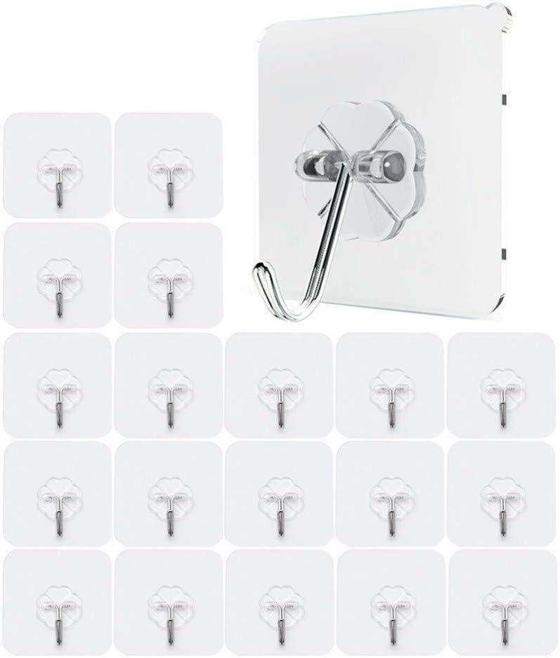JZK 20 x Fuerte ganchos adhesivos gancho pared transparente carga 10KG max gancho de plástico para baño cocina pared puerta nevera techo armario