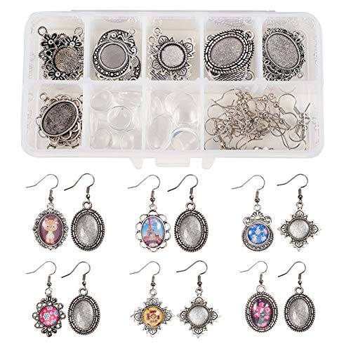 SUNNYCLUE 1 Box DIY 12 Pairs Oval Round Cabochon Earrings Making Starter Kits Dangle Tray Earring Settings, 12mm 13x18mm Clear Glass Dome Cabochons, Earring Wire Hooks, Antique Silver (Trays Unique)