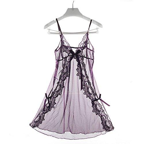 Yaheeda Women's Sexy Lingerie Lace Sleepwear,Halter V Neck String Babydoll Miniskirt Transparent Net Nightwear,Purple (Made Tailor Trousers)