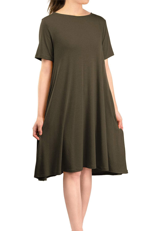 Dark Olive Malibu Days Women's Side Pockets Short Sleeve Casual Basic Loose Plain Solid Flared T Shirt Midi Dress