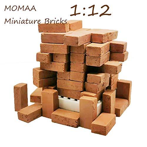 MOMAA 1/12 Mini Bricks Model Miniature Brick -Scale Wall Bricks Sand Table Micro Landscape Accessories DIY Dollhouse Bricks Diorama Fairy Garden (red+Grey) (red)