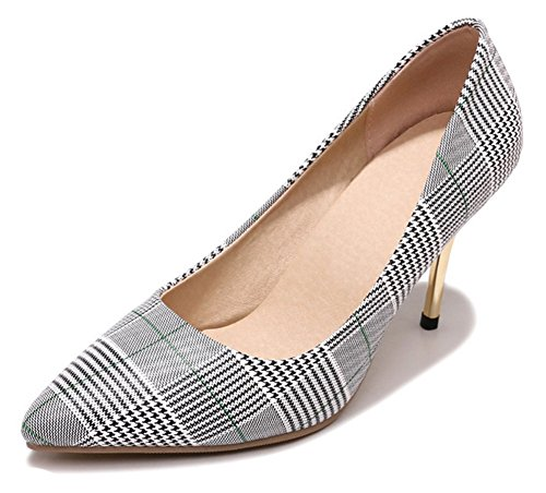 Pump Houndstooth High Heel (Aisun Women's Pointy Toe Pumps - Checkered Stilettos Shoes Party - Low Cut Slip On High Heel (Blue, 9 B(M) US))