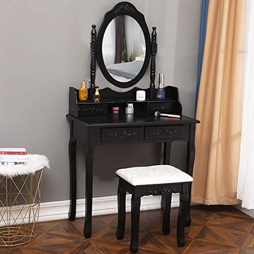 Queen Anne Large Oval Tray - Dressing Table with Cushioned Stool, Vanity Table Set with Oval Mirror, 4 Drawers // Littay (Black)