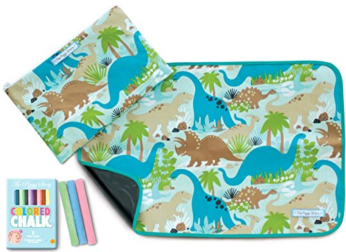 The Piggy Story 'Dinosaur World' Fun Time Table Mat with Chalk and Carrying Pouch (Chalk Mat)