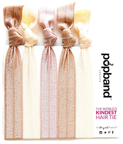 Hair Tie - Popband London Hair Bands (5 Pack) - Blondie - Designed for All-Day (and Night!) Wear - Can Prevent the Dreaded Hair Crease - Stylishly Fits on Wrists - Made for a NO DAMAGE Hold