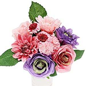 Artificial Flowers with Vase Bridal Bouquet Cascade Silk Flowers Peony Decorative Flowers Home Decorations for Wedding 8 Head 76