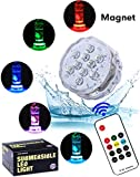 Magnet Waterproof Submersible LED Lights - Alilimall Hot Tub Lights Multicolor Underwater Spa Lights Wireless RF Signal Remote Controlled Battery Operated for Aquarium Halloween Christmas Decorations