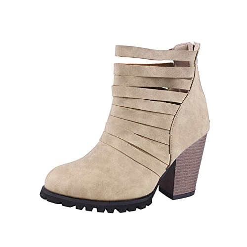 61c6197a93bd2 Btrada Womens Width Block Chunky Ankle Boots Mid Heel Strap Hollowed Martin Boots  Zipper Booties-Plus Size: Amazon.ca: Shoes & Handbags