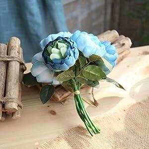 GoodLock 6 Heads Artificial Peony Silk Flower Leaf Home Wedding Decoration Party Home Decor 1 Bouquet 3