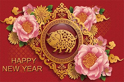Yeele 5x3ft New Year Photography Background 2019 Chinese Zodiac Pig Chinese Style Paper Cutting Peony Chrysanthemum Happy New Year Photo Backdrops Pictures Photoshoot