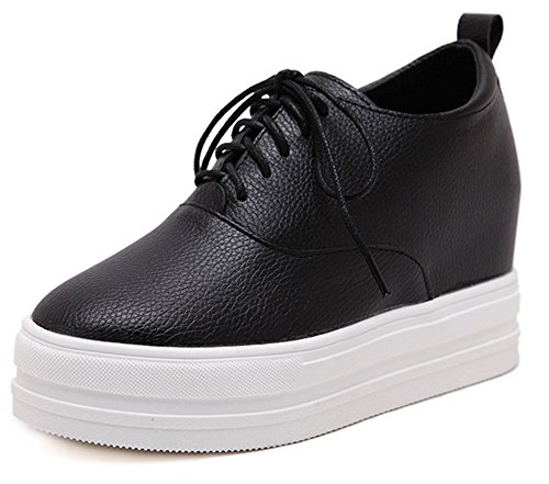 SHOWHOW Womens Classic Round Toe Thick Sole Sneakers Black 5LJ6gwCAn