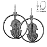 EarringObsession\'s Rhodium-plated 925 Sterling Silver 20mm Viola, Violin Leverback Earrings