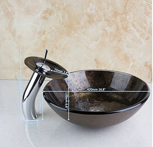 GOWE Bathroom Art Round Washbasin Black Tempered Glass Vessel Sink With Waterfall Chrome Faucet Set by Gowe