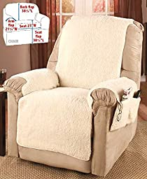 Recliner Chair Cover One Piece w/Armrests and Pockets - One Size Fits Most