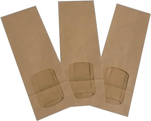 Unidades 50 bolsa de papel con ventana sobre estuche para llevar Alimentos Paper Bag: Amazon.es: Hogar