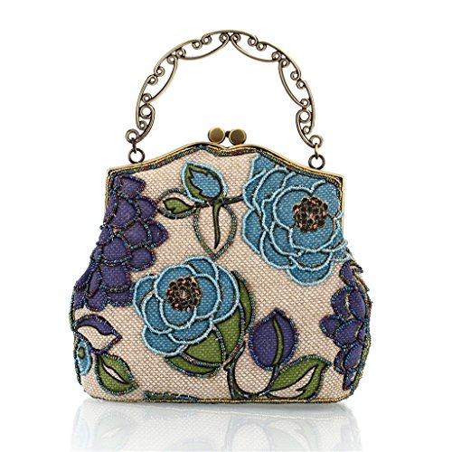 ERGEOB® Beaded Damen Handtasche Perlen Clutch retro alten Shanghai passt cheongsam pinkblau