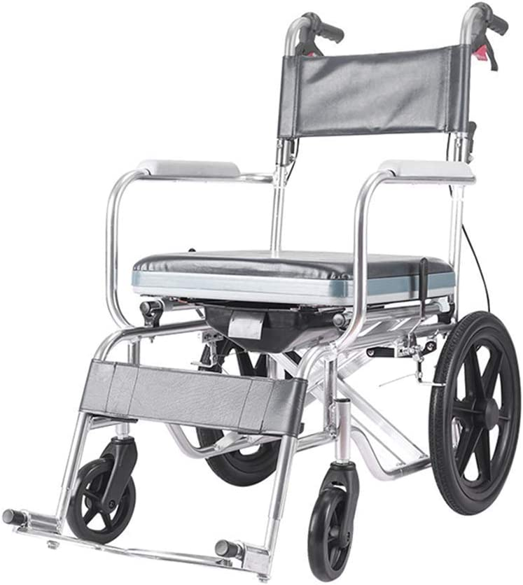 Ancianos Discapacitados Transporte por Transporte para Adultos, Silla de Baño para Ducha Deportes Ligero Empuje, Silla de Atención Médica Computadora Portátil Plegable con Freno en Mano, Llantas Asie