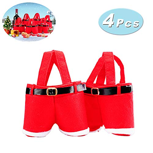 (Santa Pants Candy Bag Christmas Gift and Treat Bags with Handle for Christmas and Wedding)