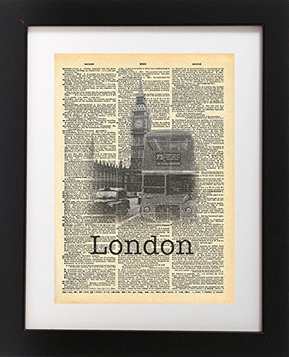 London Big Ben Vintage Dictionary Print 8x10 inch Home Vintage Art Abstract Prints Wall Art for Home Decor Wall Decorations For Living Room Bedroom Office ()