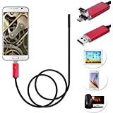7mm Android USB 2 in1 Endoscope, Ximandi 0.5M Waterproof Borescope Inspection Camera CMOS HD Snake Camera with 6 Adjustable Led Lights (Red)